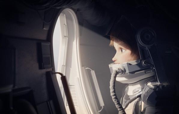 Picture girl, fantasy, spaceship, artist, digital art, artwork, fantasy art, pearls, astronaut, spacesuit, Rachel Frick