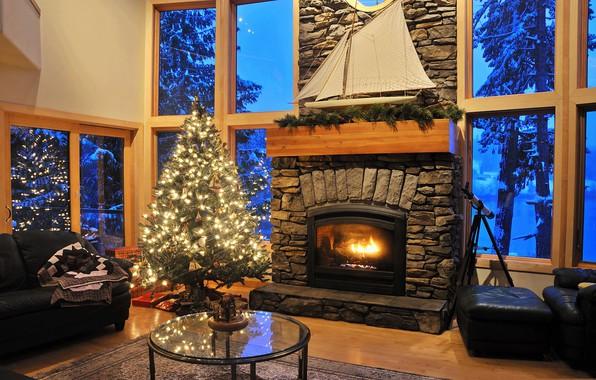 Picture sofa, tree, window, Christmas, fireplace