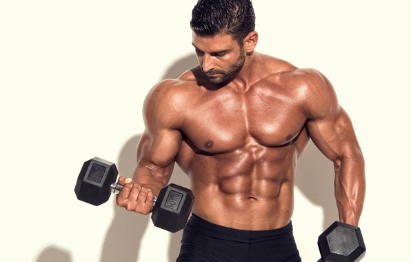 Picture muscle, muscle, press, pose, dumbbells, gym, bodybuilder, abs, dumbbells, bodybuilder, gym