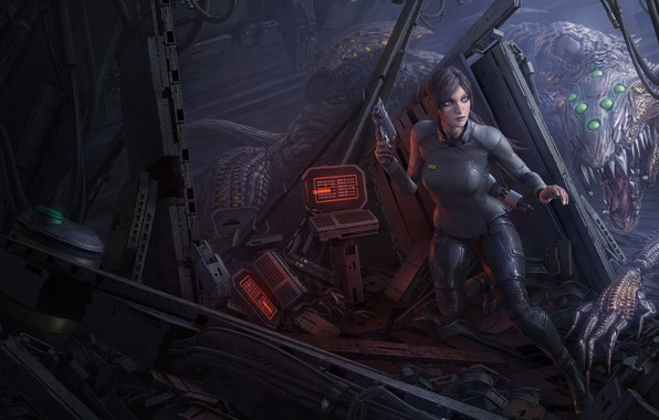 Picture girl, space, night, weapons, monsters, iron