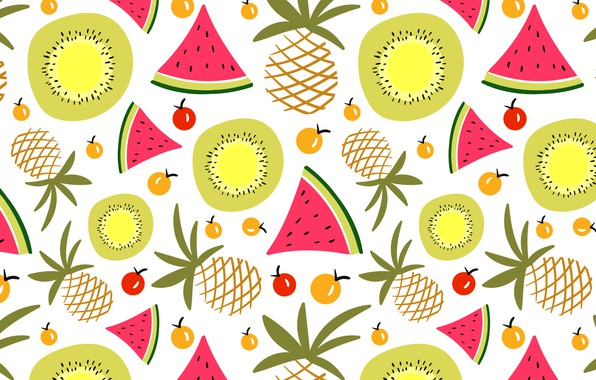Picture summer, background, texture, watermelon, pineapple, pattern, fruits, Summer, fruits