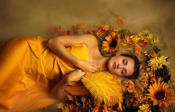 Picture water, girl, sunflowers, flowers, face, pose, fog, style, sleep, feathers, yellow, hands, couples, sleeping, lies, …