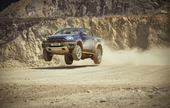 Picture jump, Ford, Raptor, pickup, Ranger, quarry, 2019