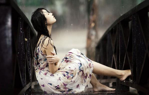 Picture wallpaper, girl, rain, dress, background, alone, mood, sadness, blur, asian girl, broken heart, raining, sitting …