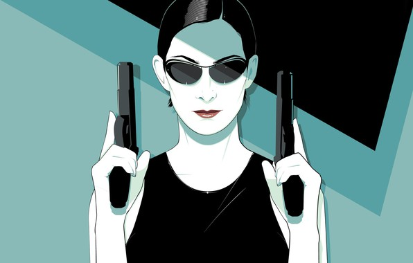 Picture Girl, Minimalism, Trinity, Background, Weapons, Matrix, Art, The film, Matrix, Carrie-Anne Moss, Guns, The Matrix, …