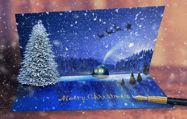 Picture winter, snow, tree, New year, postcard