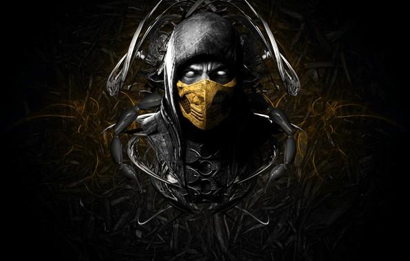 Picture face, mask, game, scorpion, face, mortal kombat