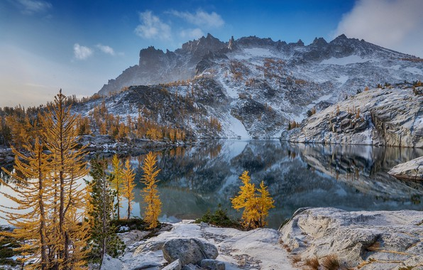 Picture winter, autumn, forest, the sky, clouds, snow, trees, mountains, lake, reflection, stones, rocks, blue, shore, …
