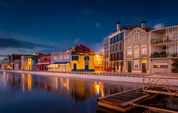 Picture building, home, pier, channel, Portugal, promenade, Portugal, Aveiro, Aveiro, Are The California Channel