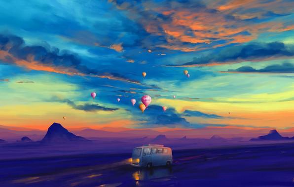 Picture lights, twilight, road, sky, landscape, sunset, art, mountains, clouds, evening, painting, artist, artwork, balloons, illustration, …