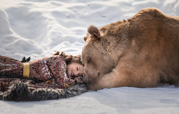 Picture winter, snow, smile, Girl, dress, bear, lies, Irina Pirogova