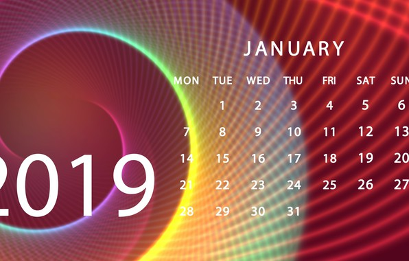 Picture calendar, January, 2019