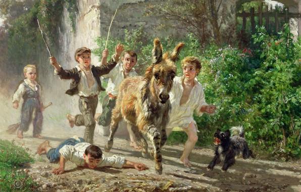 Picture dog, donkey, Filippo Palizzi, Street boys