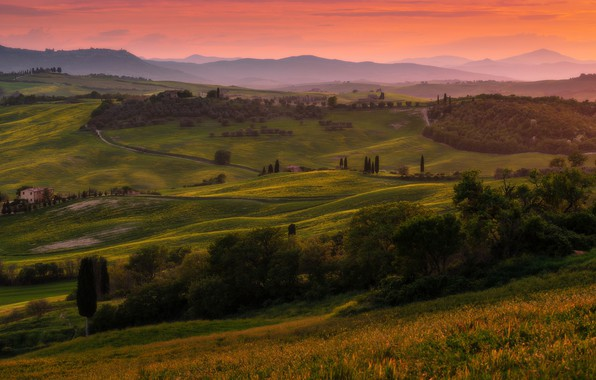 Picture summer, trees, sunset, mountains, fog, hills, field, dal, the evening, green, Italy, haze, houses, settlement, …