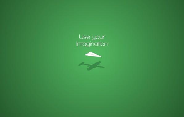 Picture aircraft, minimalism, plane, digital art, artwork, imagination, simple background, green background, motivational, Paper plane