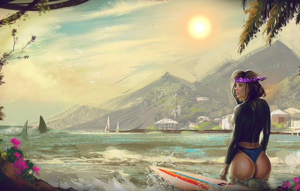 Picture The sun, Water, Sea, Girl, Ass, Figure, Summer, Surfing, Landscape, Heat, Art, Stay, Figure, Sharks, …