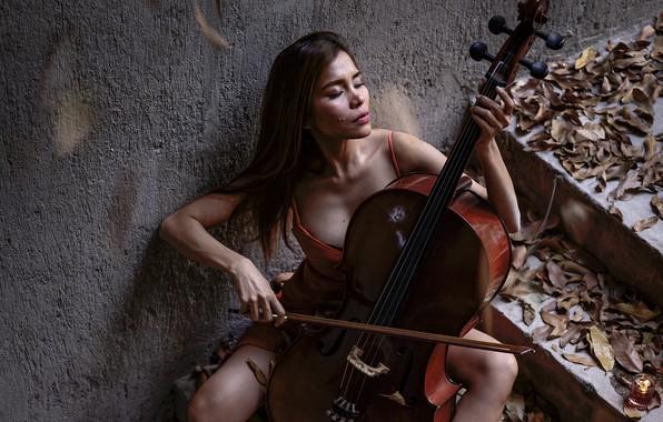 Picture girl, music, cello