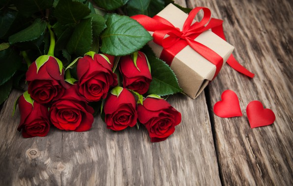 Picture love, flowers, gift, roses, hearts, red, red, love, wood, flowers, romantic, hearts, valentine's day, roses, …
