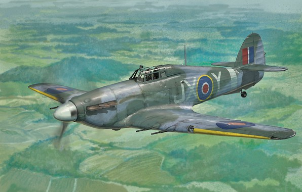 Picture art, airplane, aviation, Hawker Hurricane, ww2