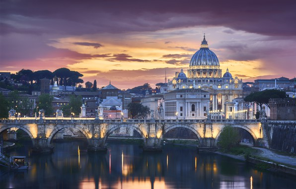 Picture bridge, the city, building, the evening, lighting, Rome, Italy, Cathedral, The Vatican