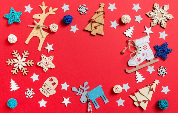 Picture winter, snowflakes, toys, Tree, Christmas, Background, Tree