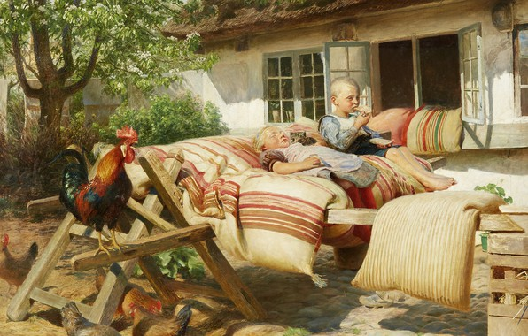 Picture Danish painter, 1902, Danish painter, The sun is shining in the neighbor's mansion, Hans Ola …