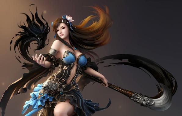 Picture Girl, Fantasy, Dragon, Beautiful, Art, Flame, Asian, Style, Paint, Characters, Figure, Brush, Cavan & Danny, …