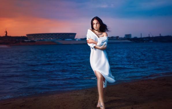 Photo wallpaper girl, sunset, pose, river, the wind, the evening, hands, dress, tattoo, Alexander Drobkov-Light, Angelina Sorokina