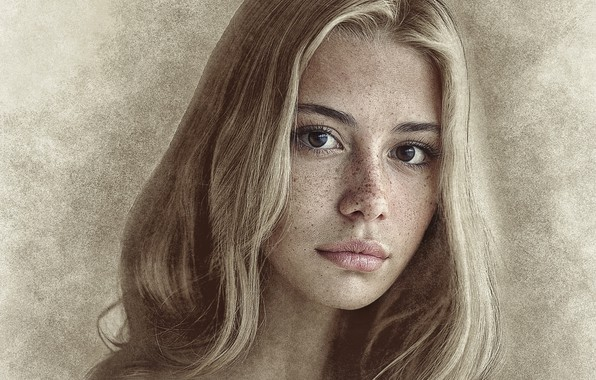 Picture girl, photoshop, picture, pencil drawing