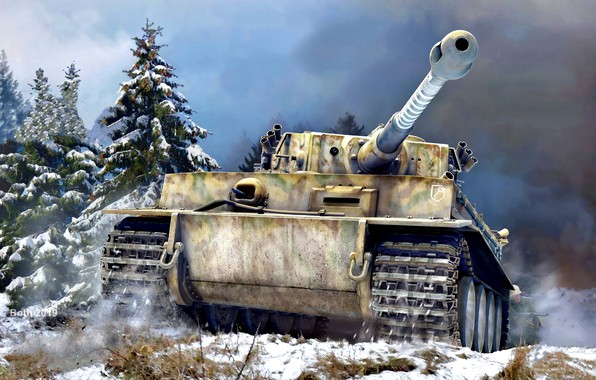 Picture Snow, Spruce, Tank, Tiger I, Heavy, With a gun, 8.8cm KwK 36 L/56