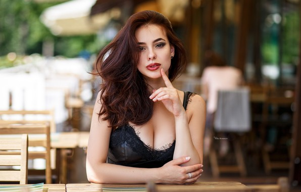Picture look, sexy, pose, model, portrait, makeup, dress, hairstyle, brown hair, beauty, sitting, in black, bokeh, …
