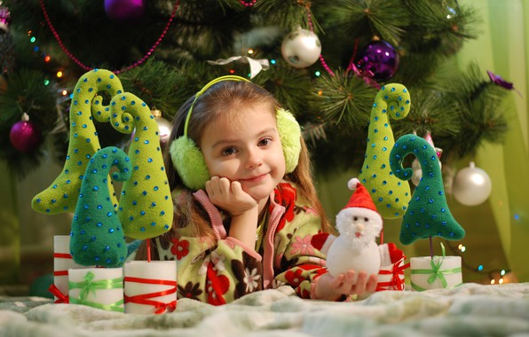 Picture decoration, holiday, toys, new year, Christmas, girl, tree, child