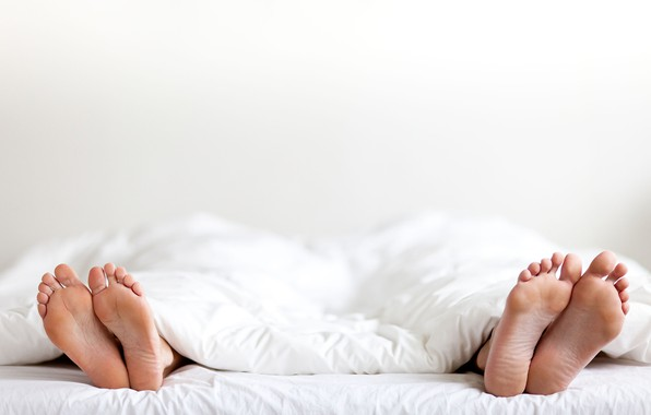 Picture white, couple, fingers, sheets, feet, marriage