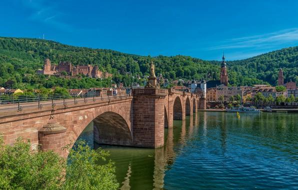 Picture bridge, river, castle, building, home, Germany, Germany, Old bridge, Baden-Württemberg, Baden-Württemberg, Heidelberg, Old Bridge, Heidelberg …