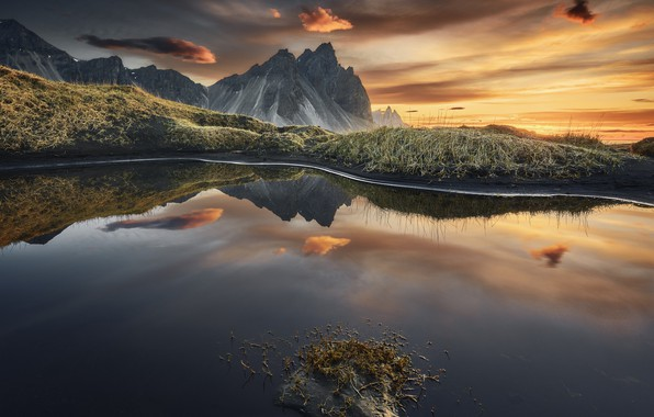 Picture sunset, mountains, nature, lake, reflection, the evening, Vestrahorn, photographer Etienne Ruff
