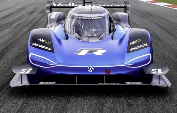 Picture blue, Volkswagen, prototype, front view, track, prototype, 2019, I.D. R