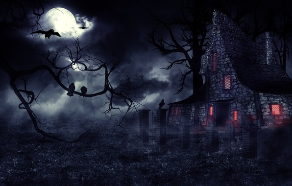 Picture night, fog, Gothic, mystic, crows, the full moon, haunted house, фентези арт, мрачный замок
