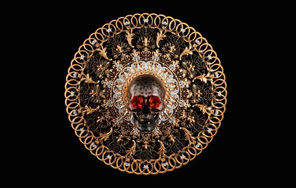 Picture rose, skull, art, Salvatore Miranda, SKULL