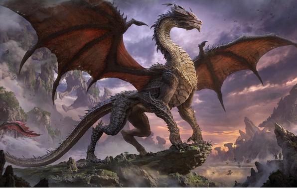 Picture people, rocks, dragon, wings, power, art, mouth, fatti