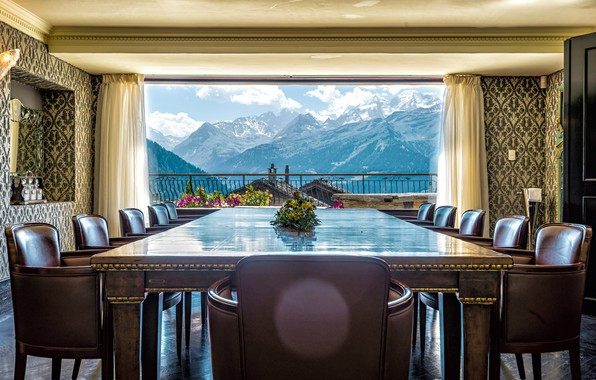 Picture landscape, mountains, table, room, chairs, interior, window, balcony, curtains, dining room