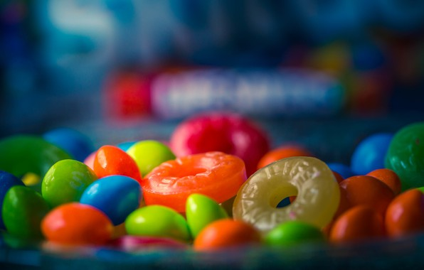 Picture macro, candy, sweets, lollipops, bokeh, pills