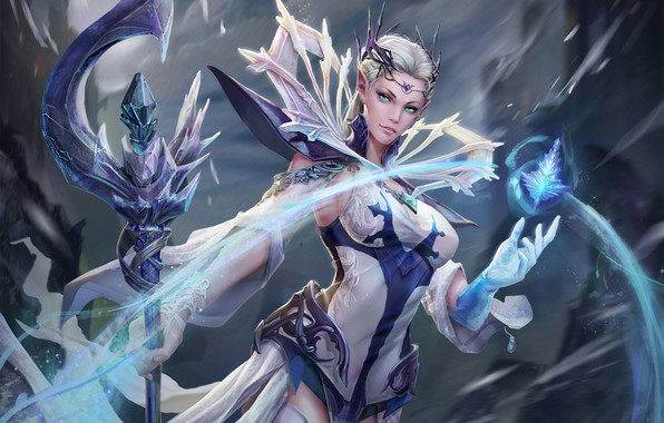 Picture cold, ice, look, girl, magic, fantasy, art, costume