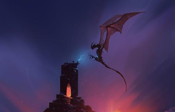 Picture Tower, Figure, Dragon, Monster, Dawn, Battle, Lizard, Magic, Battle, Dragon, Art, Art, Fiction, Sunrise, Omar ...