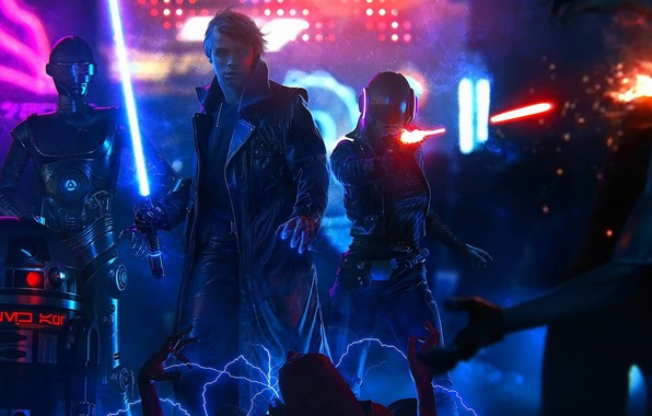 Picture Jedi, Droid, Power, Cyberpunk, Jeronimo Gomez, Star Wars, Art, by Jeronimo Gomez, Luke, StarWars, Robot, ...