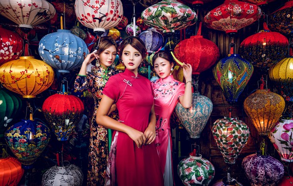 Picture style, girls, trio, model, lanterns, Asian girls