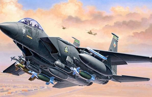 Picture USA, fighter-bomber, F-15E, Strike Eagle, McDonnell Douglas, American double