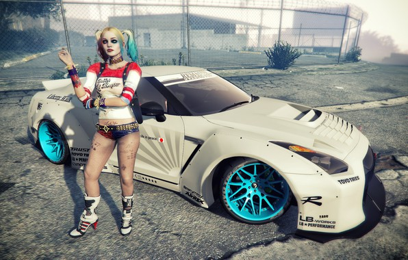 Picture the game, Tuning, R35, Nissan GT-R, Harley Quinn, gta 5, Liberty Walk, fashion