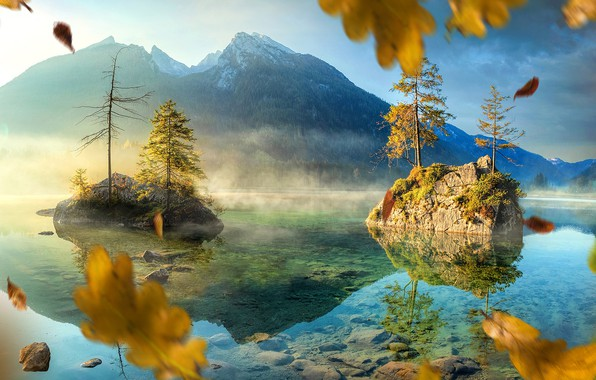 Picture autumn, leaves, trees, landscape, mountains, nature, lake, rocks, Germany, carsten Bach Meyer