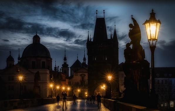Picture the city, building, the evening, Prague, Czech Republic, lighting, lights, tower, temple, the dome, sculpture, …