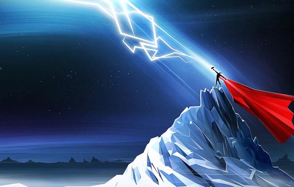 Picture Figure, Mountain, Zipper, Fantasy, Art, Art, Thor, Thor, God, God, Thunder, Mjollnir, The God of ...